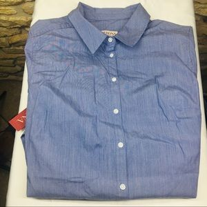 L Merona Button Down Long Sleeve Blue Shirt Blouse
